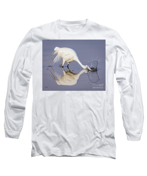 Great Egret Dipping For Food Long Sleeve T-Shirt