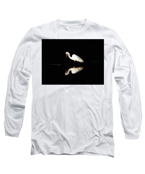 Great Egret Reflection Long Sleeve T-Shirt