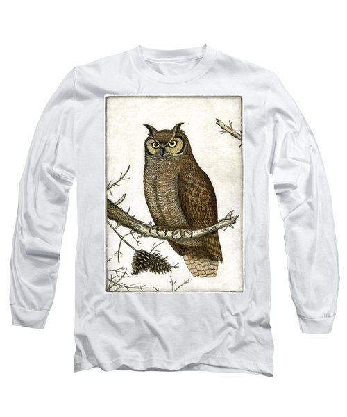 Great Horned Owl Long Sleeve T-Shirt by Charles Harden