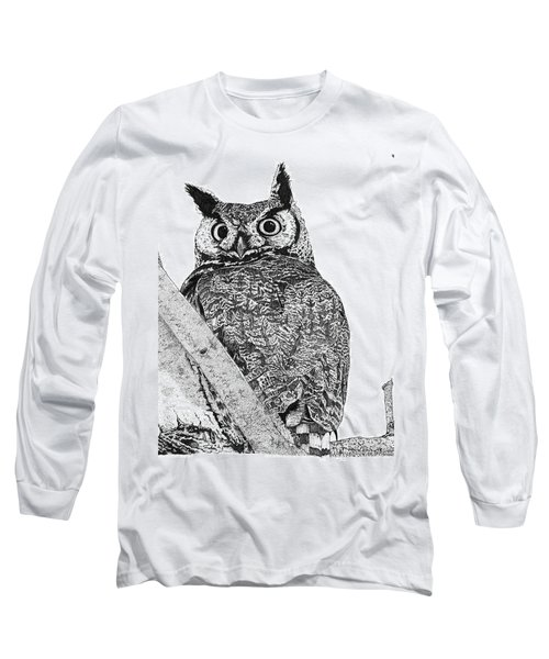 Great Horned Owl In A Tamarisk Long Sleeve T-Shirt