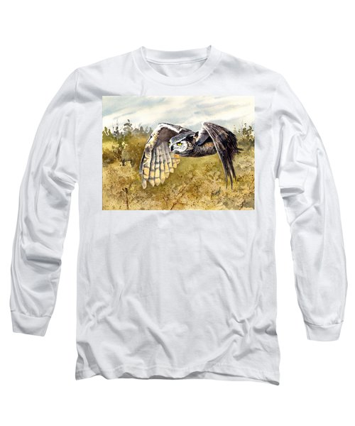 Great Horned Owl In Flight Long Sleeve T-Shirt by Sam Sidders