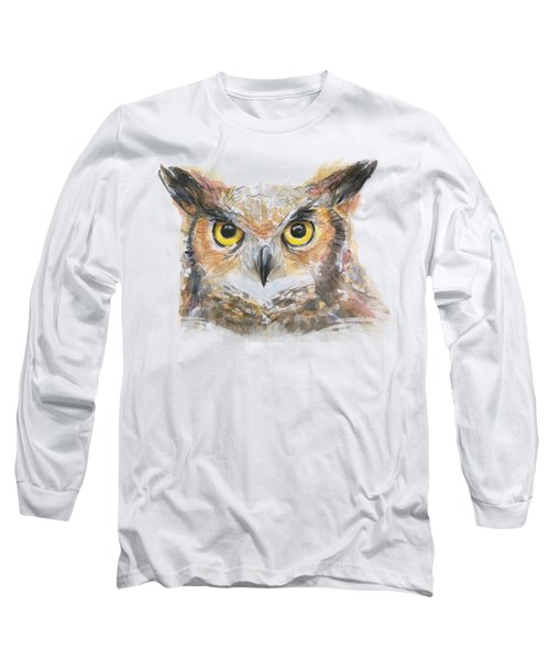 Great Horned Owl Watercolor Long Sleeve T-Shirt by Olga Shvartsur