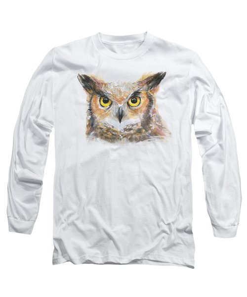 Great Horned Owl Watercolor Long Sleeve T-Shirt