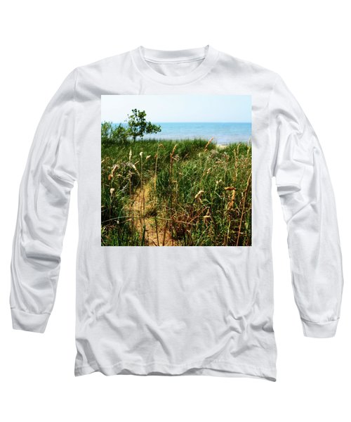 Long Sleeve T-Shirt featuring the photograph Great Lake Beach Path by Michelle Calkins