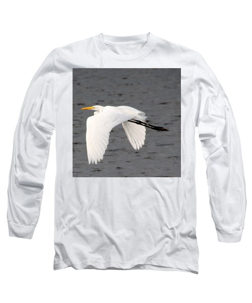 Great White Egret In Flight Long Sleeve T-Shirt by Laurel Talabere