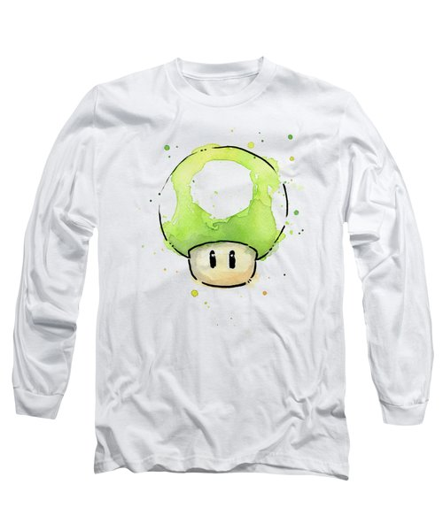 Green 1up Mushroom Long Sleeve T-Shirt by Olga Shvartsur