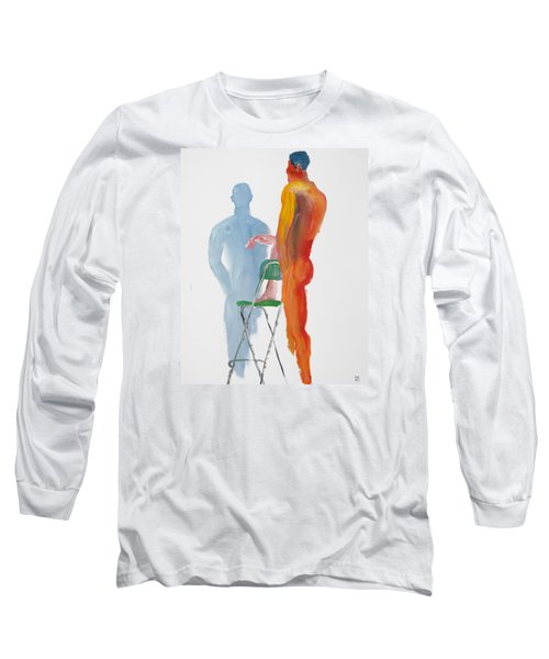 Long Sleeve T-Shirt featuring the painting Green Chair Blue Shadow by Shungaboy X