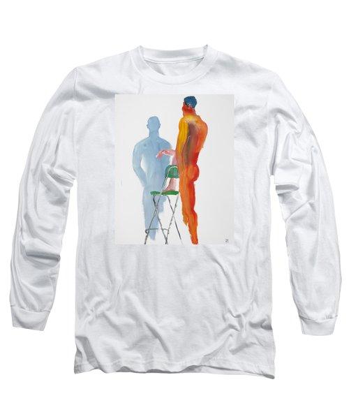 Green Chair Blue Shadow Long Sleeve T-Shirt by Shungaboy X