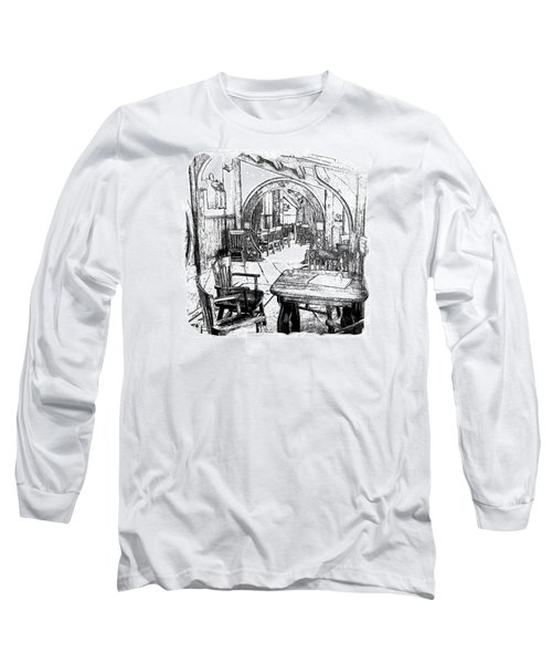 Long Sleeve T-Shirt featuring the drawing Green Dragon Inn Nook by Kathy Kelly