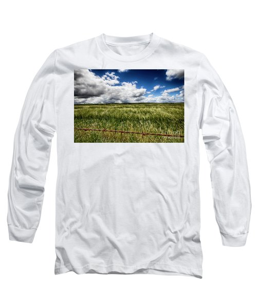 Green Fields Long Sleeve T-Shirt by Douglas Barnard