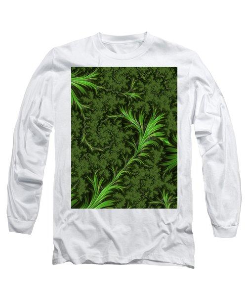 Green Fronds Long Sleeve T-Shirt by Rajiv Chopra