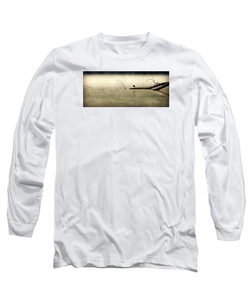 Green Heron In Dawn Mist Long Sleeve T-Shirt by Kathy Barney