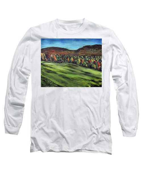 Green Mountain Retreat Long Sleeve T-Shirt by Denny Morreale