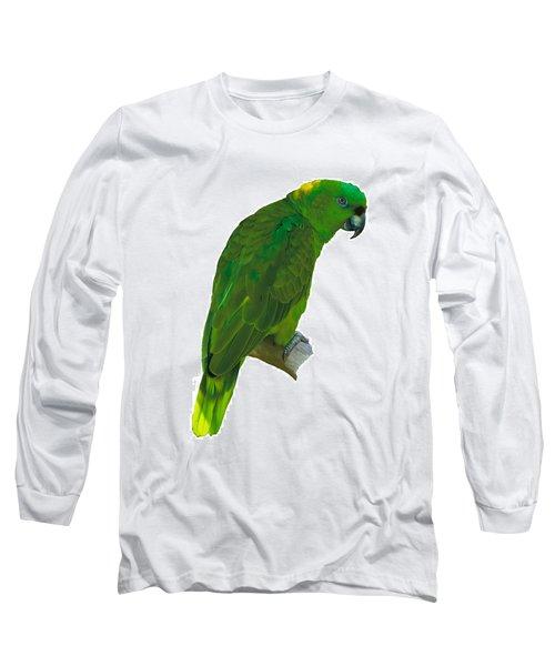 Green Parrot On White  Long Sleeve T-Shirt