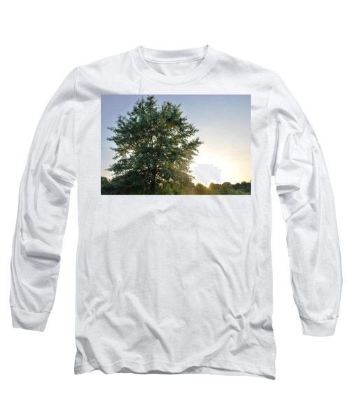 Green Tree Bright Sunshine Background Long Sleeve T-Shirt