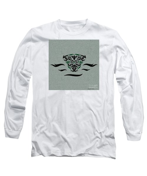 Long Sleeve T-Shirt featuring the digital art Green Tribal Gator by Megan Dirsa-DuBois