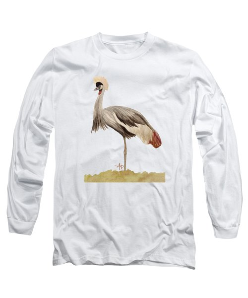 Grey Crowned Crane Long Sleeve T-Shirt by Angeles M Pomata