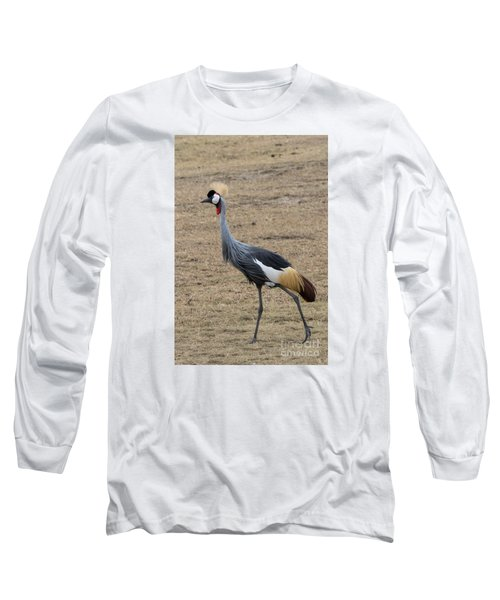Long Sleeve T-Shirt featuring the photograph Grey Crowned Crane In The Wild by Pravine Chester