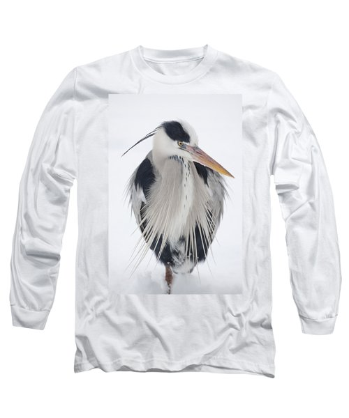 Grey Heron In The Snow Long Sleeve T-Shirt