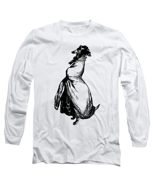 Greyhound Grandville Transparent Background Long Sleeve T-Shirt by Barbara St Jean