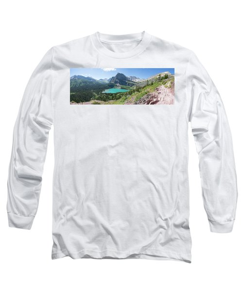 Grinnell Lake Panoramic - Glacier National Park Long Sleeve T-Shirt