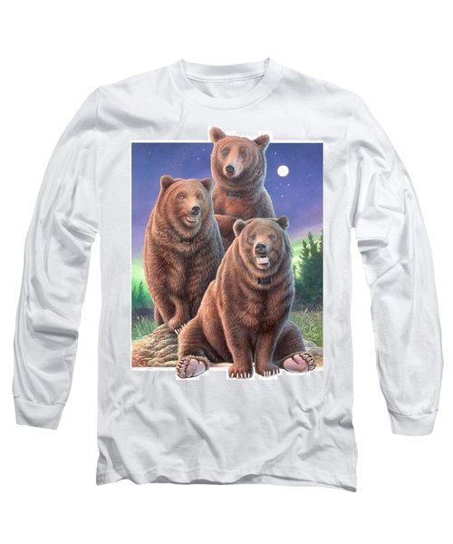 Grizzly Bears In Starry Night Long Sleeve T-Shirt by Hans Droog