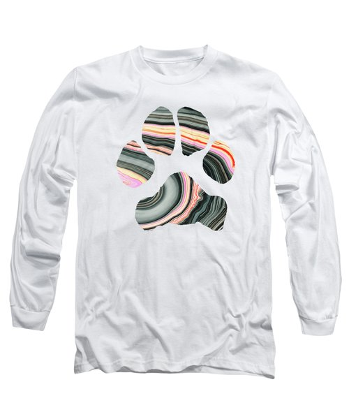 Long Sleeve T-Shirt featuring the painting Groovy Dog Paw - Sharon Cummings  by Sharon Cummings