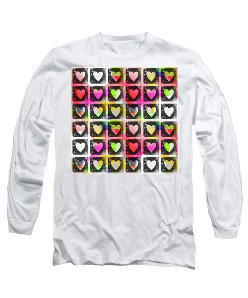 Long Sleeve T-Shirt featuring the mixed media Groovy Hearts- Art By Linda Woods by Linda Woods