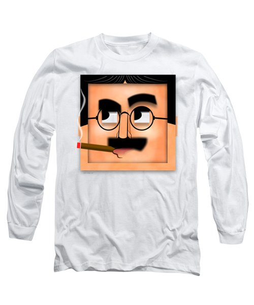 Long Sleeve T-Shirt featuring the digital art Groucho Marx Blockhead by John Wills