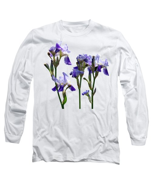 Group Of Purple Irises Long Sleeve T-Shirt by Susan Savad