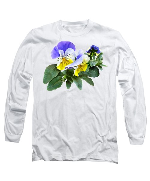 Group Of Yellow And Purple Pansies Long Sleeve T-Shirt