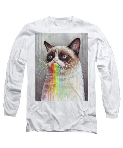 Grumpy Cat Tastes The Rainbow Long Sleeve T-Shirt