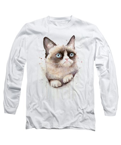 Grumpy Cat Watercolor Long Sleeve T-Shirt by Olga Shvartsur