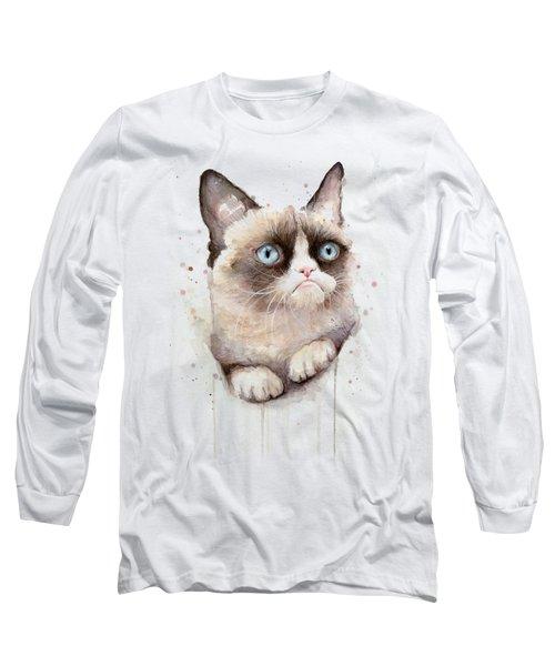 Grumpy Cat Watercolor Long Sleeve T-Shirt