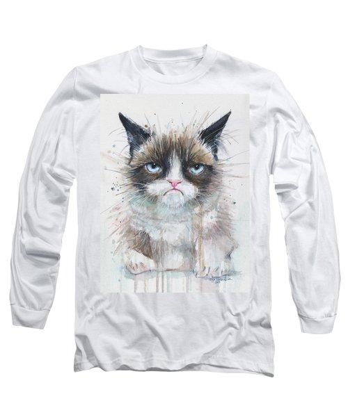 Grumpy Cat Watercolor Painting  Long Sleeve T-Shirt
