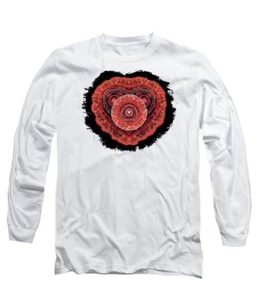 Grunge Fractal Heart Long Sleeve T-Shirt