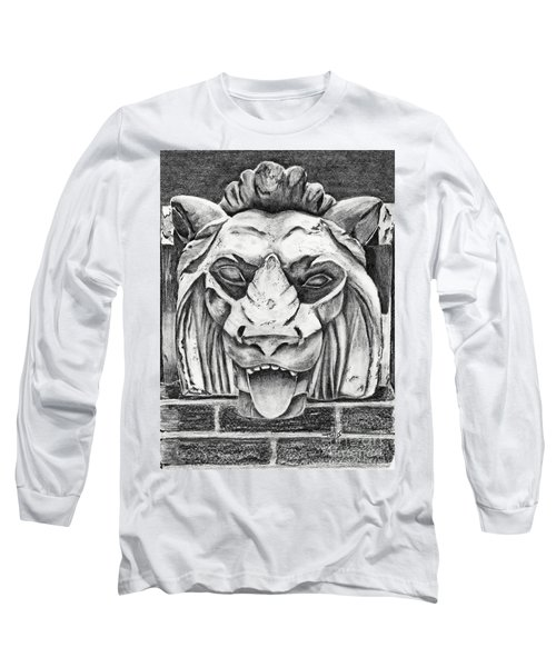 Long Sleeve T-Shirt featuring the drawing Guardian Lion by Terri Mills