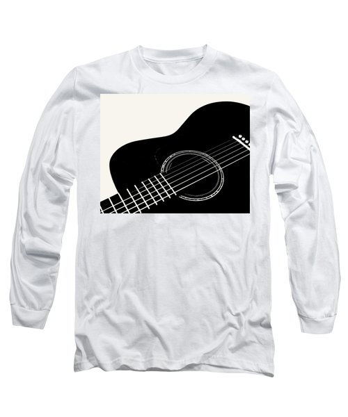 Guitar, Black And White,  Long Sleeve T-Shirt by Jana Russon