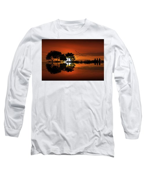 Guitar Landscape At Sunset Long Sleeve T-Shirt