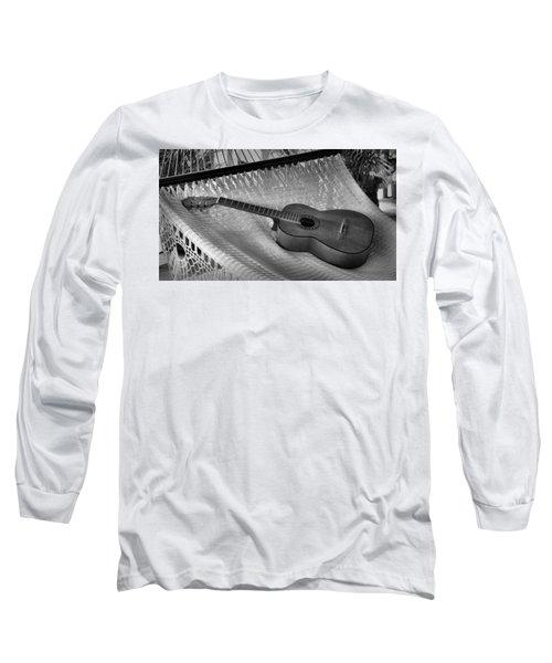 Long Sleeve T-Shirt featuring the photograph Guitar Monochrome by Jim Walls PhotoArtist