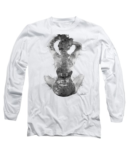 Guitar Siren In Black And White Long Sleeve T-Shirt