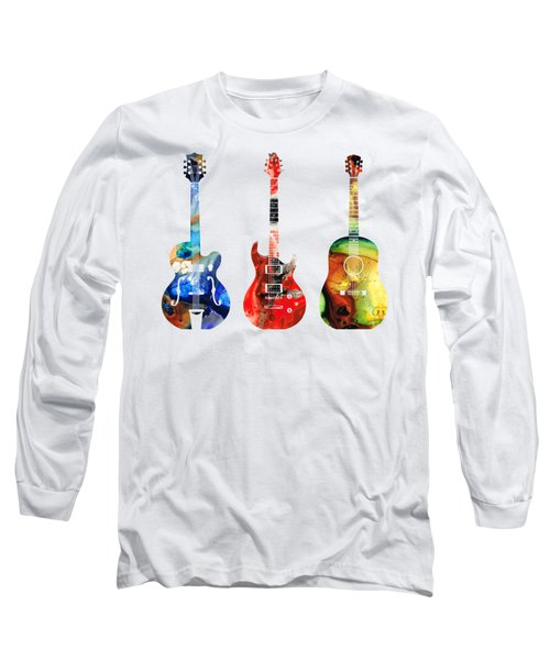 Guitar Threesome - Colorful Guitars By Sharon Cummings Long Sleeve T-Shirt by Sharon Cummings