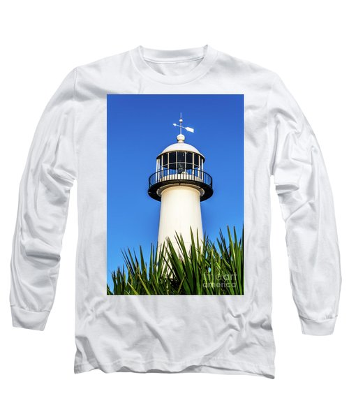 Gulf Coast Lighthouse Seascape Biloxi Ms 3819a Long Sleeve T-Shirt