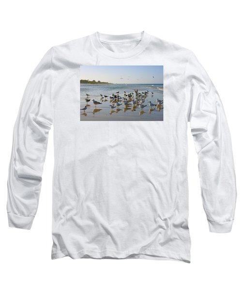 Gulls And Terns On The Sanbar At Lowdermilk Park Beach Long Sleeve T-Shirt by Robb Stan