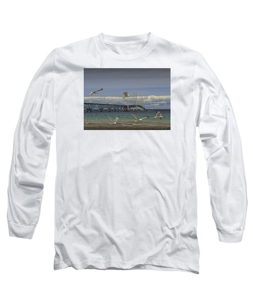 Gulls Flying By The Bridge At The Straits Of Mackinac Long Sleeve T-Shirt by Randall Nyhof
