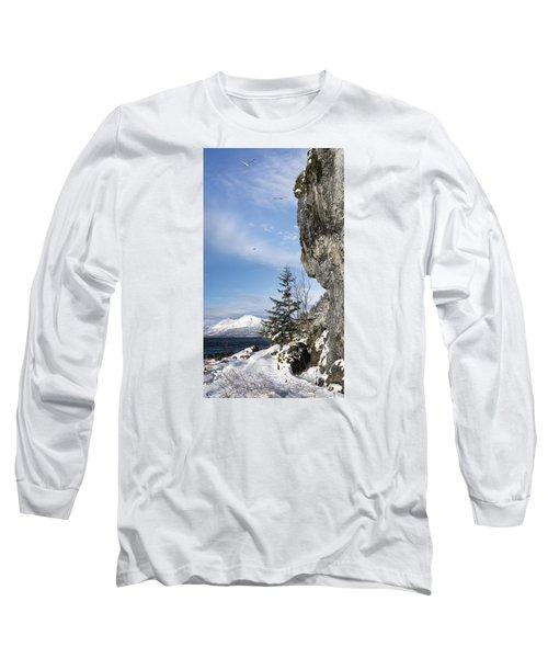 Gulls Of Winter Long Sleeve T-Shirt by Michele Cornelius