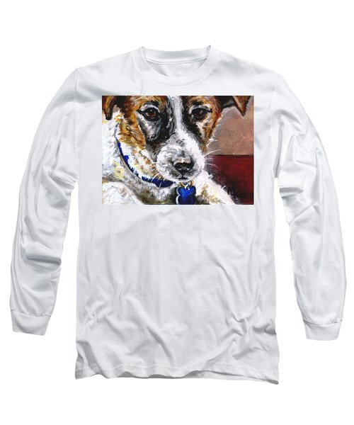 Long Sleeve T-Shirt featuring the painting Gunter From Muttville by Mary-Lee Sanders