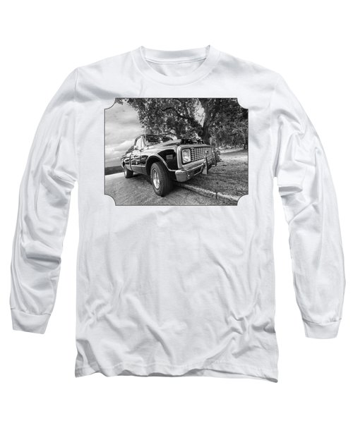 Halcyon Days - 1971 Chevy Pickup Bw Long Sleeve T-Shirt by Gill Billington