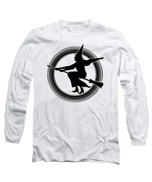 Long Sleeve T-Shirt featuring the drawing Halloween Witch by rd Erickson
