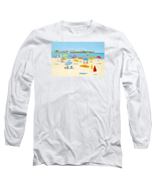 Hampton Beach Umbrellas Long Sleeve T-Shirt by Jan Matson